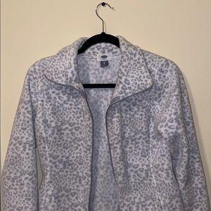 Women's Full-Zip Grey Cheetah Pattern Jacket